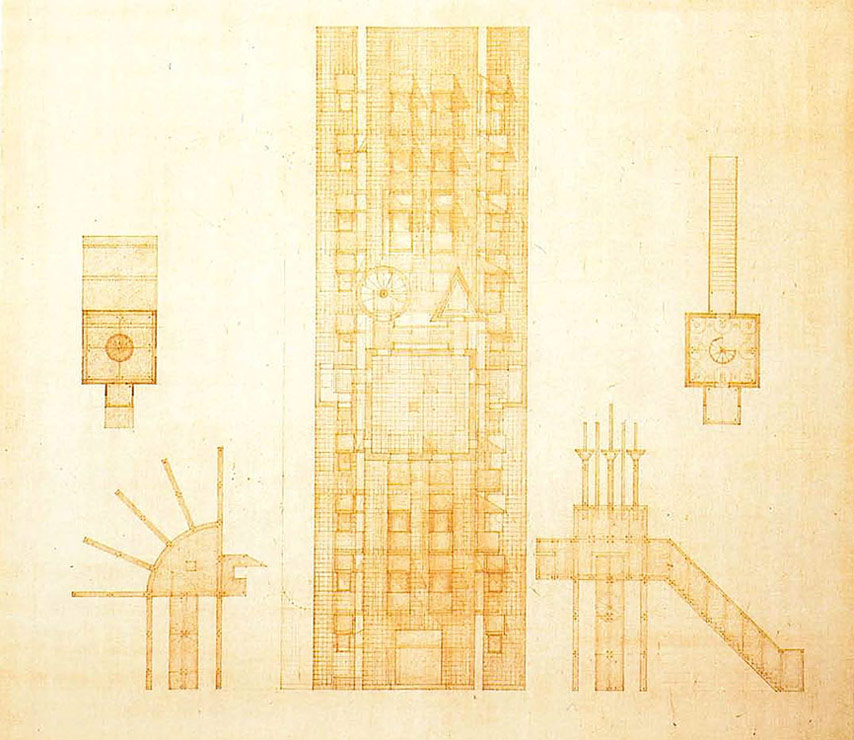 Hekduk's x-ray drawings of the Tower with its two pavillions