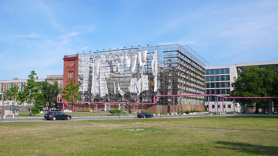 The Bauakademie simulation, viewed from the north-west. Remnants of the canvas-print façade left hanging in the wind.