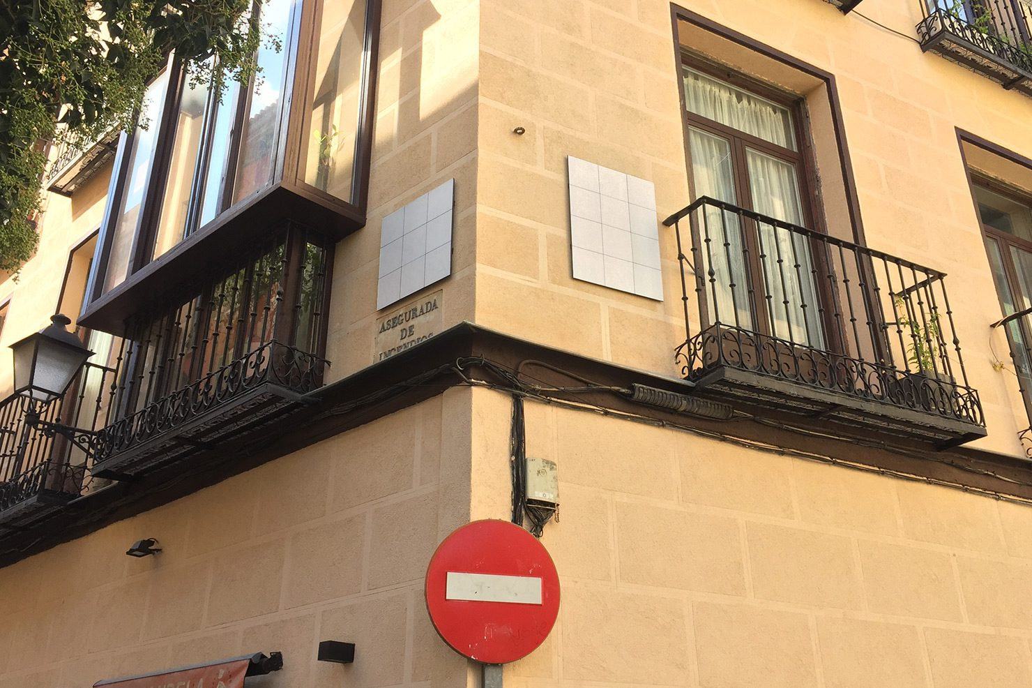 Blanked out street signs in central Madrid. Part of the #CallesEnBlanco initiative.