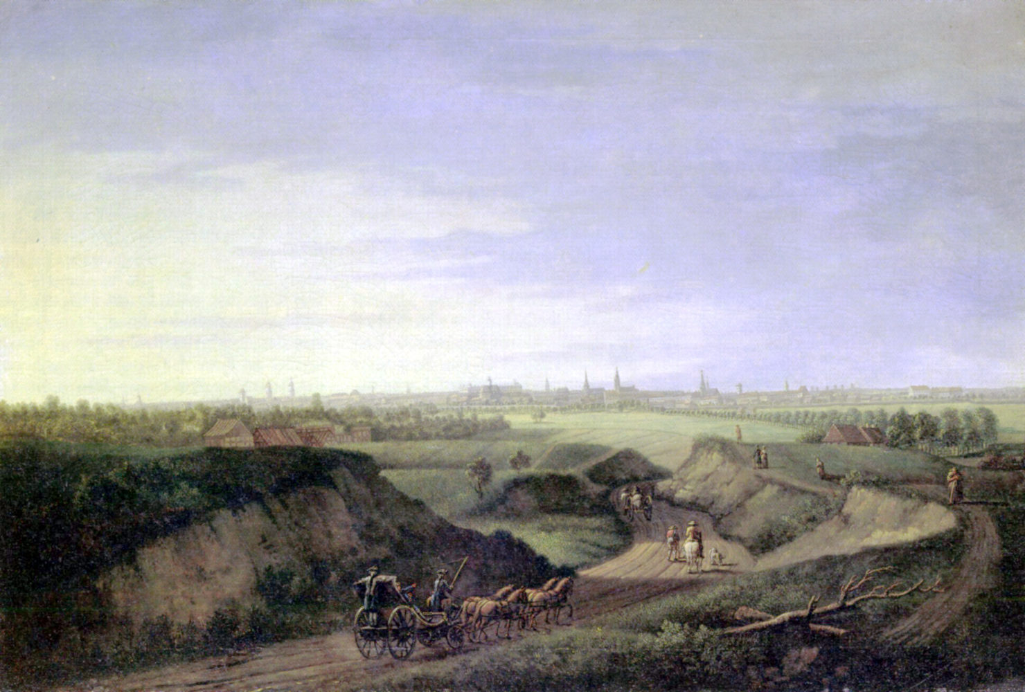 Johann Georg Rosenberg's painting of the Rollberge in Berlin. In the foreground, a coach pulled by four horses on a dirt road surrounded by rolling hills. The winding highway stretches into the distance. In the far distance is the 18th century city of Berlin.