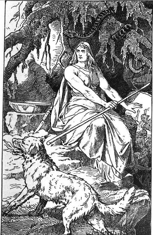 An 1889 depiction of Hel, goddess of the underworld. The image is a black and white hand drawing made by Johannes Gehrts in 1889. Hel sits proudly on a rock. She is muscular, and carries a staff in her right hand. Above her is a snake. In the forground, a dog.